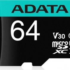 Card de memorie ADATA V30S 64GB Premier Pro MicroSDXC Clasa 10 UHS-I U3 + Adaptor SD