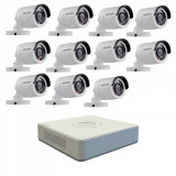 Kit format din 11 camere exterior Hikvision TurboHD DS 2CE16C0T IRPF 1 MP IR 20 m 2.8 mm + DVR Turbo HD Hikvision DS 7116HGHI F1 N 16 canale 1080N