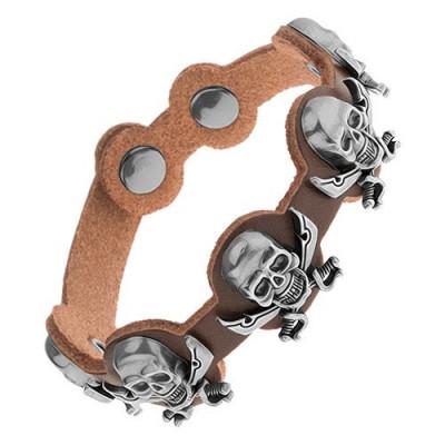 Brăţară realizată din piele sintetică maro, cranii din oţel cu săbii încrucişate foto