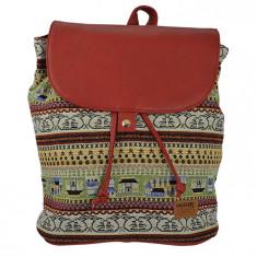 Ghiozdan tip rucsac Pigna Oxigen vintage tribal bordo FYRS76170