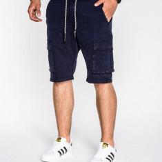 Pantaloni scurti pentru barbati bleumarin cu siret buzunare laterale casual P527