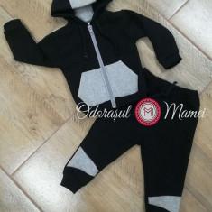 Trening bumbac bebelusi negru-gri