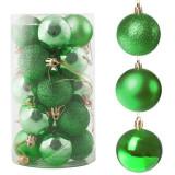 Set globuri Craciun, pentru brad, din plastic, 4cm, 20 buc, verde