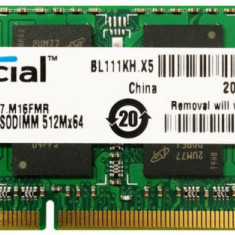 Memorii Laptop Crucial 4GB DDR3 PC3-8500S 1066Mhz CT51264BC1067