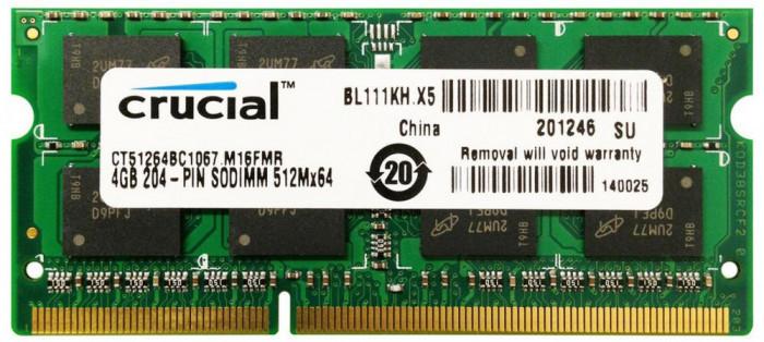 Memorii Laptop Crucial 4GB DDR3 PC3-8500S 1066Mhz CT51264BC1067