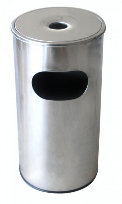 Coș de gunoi cu scrumiera rotund pentru hotel fără găleată interioară 30l. 29,5x29,5xh60,5cm MN018539 Raki