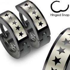 Cercei negri din oțel chirurgical - model cu stele