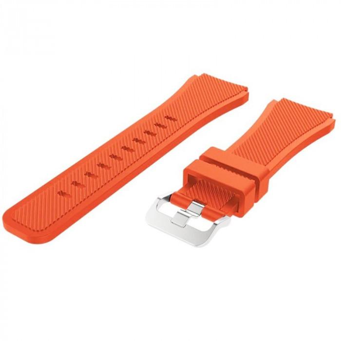Curea din silicon compatibila cu Fitbit Versa, Telescoape QR, 22mm, Light Orange