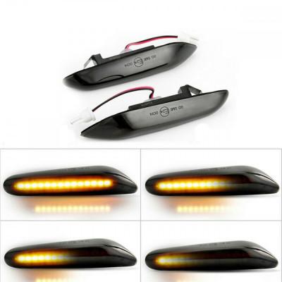 Set 2 Semnalizari Aripa LED Dinamice pentru BMW X1 E84, X3 E83, E60, E90, E91, E92, E93, E81, E82, E88 - BTLL-240-B foto