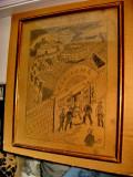 3026-Tablou vechi 1918: Drumul mortii. Grafica veche romaneasca creion/carton., Scene gen, Ulei, Altul