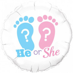 Balon gender reveal He or She ? din folie 45 cm