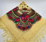 Batic etno mare - Imprimeu floral panza Galbena