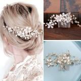 Pieptăn pentru coc cu perle albe Margaret