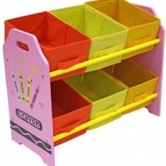 Organizator jucarii Copii Fun cu cadru din lemn Pink Crayon