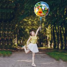 Balon Winnie Happy Birthday, folie, 45x45 cm, umflare aer sau heliu