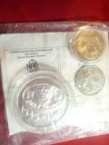 Set Monede FAO cu Certificat BNR- 100 lei argint capsulata si 2x10 lei metal