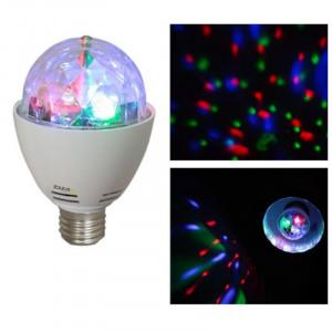Bec cu Led-uri, soclu E27, RGB si cap rotativ, 4 W
