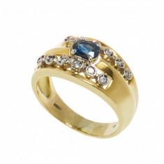 Inel, aur galben 18K, cu safir si 12 diamante