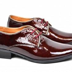 Pantofi dama casual din piele naturala grena - Marimea 39