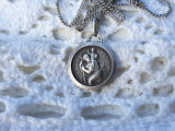 MEDALION argint SFANTUL CRISTOFER protectorul calatoriilor VECHI pe Lant argint