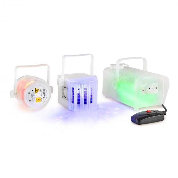Ibiza CLEAR-PACK, set de efecte de iluminare, FIREFLY LASER, Derby LED, aparat de ceață, 400W