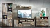 Set de mobila living din pal, 4 piese Bazna Large Natur / Gri inchis