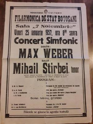 Afis Filarmonica Botosani 1957 RPR comunist foto