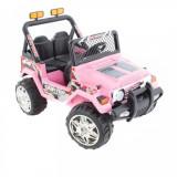 Masinuta electrica cu doua locuri si roti din plastic Drifter Jeep 4x4 Roz