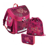Ghiozdan Lovely Hearts Baggymax, 3 piese, Roz