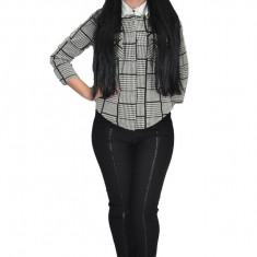 Pantalon modern cu insertii de piele impletita pe picior,nuanta neagra