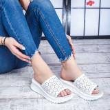 Papuci dama Piele alba Planeria-rl