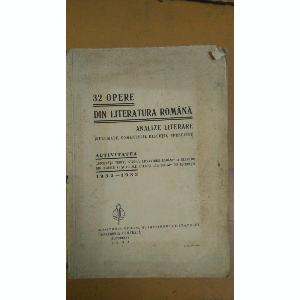 32 de Opere din Literatura Română - Analize literare ...