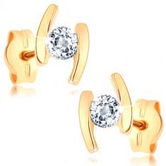Cercei din aur galben de 14K - două arce, diamant transparent în mijloc