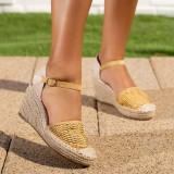 Sandale dama cu platforma galbene Canifa