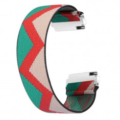 Curea textila elastica, compatibila Samsung Galaxy Watch3 40mm, telescoape Quick Release, India Model
