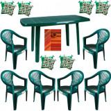 Mobiler gradina masa demontabila MUTUM cu 6 scaune Carnaval culoare verde,6 Pernute scaun,Fata de masa150x220cm B001049 Raki