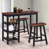VidaXL Set mobilier de bar, 3 piese, MDF, negru
