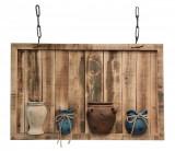 Decoratiune suspendabila perete lemn natur cu 4 vaze 100 cm x 14 cm x 60 h, Bizzotto