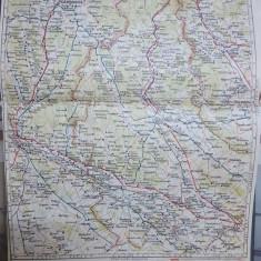 Harta Pitești, Târgoviște, Câmpulung, Găești, Bușteni, Slănic, 1927