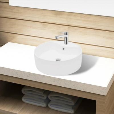 Bazin chiuvetă ceramică baie cu gaură robinet/preaplin, rotund, alb foto