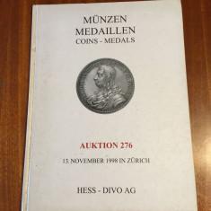Catalog de licitatii Monede si Medalii (Zurich 1998) Germana - Engleza (Ca nou!)