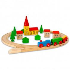 Set Trenulet cu sina din lemn in galetusa 30 piese Eichhorn