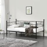[en.casa]® Pat metalic Single AADB-4481, 209 x 96,5 x 100 cm, otel, negru HausGarden Leisure, [en.casa]
