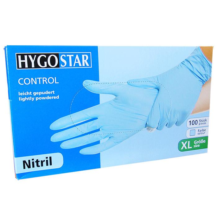 Manusi nitril Control marimea XL, albastre, 100 bucati/cutie, usor pudrate