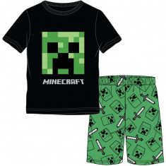 Pijama Minecraft ORIGINAL Creeper Logo 5-12 ani + Bratara Minecraft CADOU !!