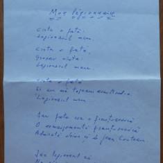 Manuscris Geo Bogza ; Poezie legionara ; Mon legionnaire