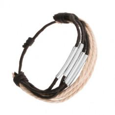 Brățară din șnururi negre și bej, cilindri lucioși din oțel