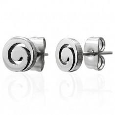 Cercei din oțel, argintii, spirale lucioase, șuruburi