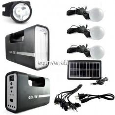 Kit Solar cu Lampa U, Lanterna Frontala, USB, 3 Becuri 6V 4Ah GDLite1