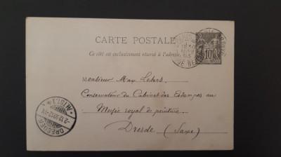 Franta - Carte postala 1893 (Pax & Mercur 10) foto